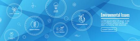 Environmental issues header web banner w recycling, etc icon set Foto de archivo - 113541647