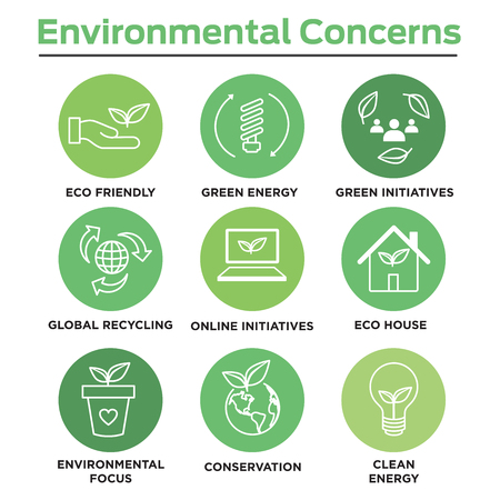 Environmental concerns icon set with lightbulb, hand holding leaf, recycling, etc. Reklamní fotografie - 103834955