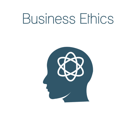 Business Ethics Solid Icon with head & thinking brain
