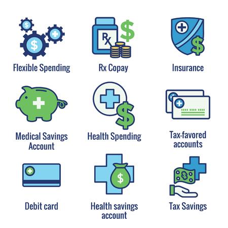 Ahorros de impuestos médicos w Cuenta de ahorros para la salud o cuenta de gastos flexible: HSA, FSA, ahorros con protección fiscal Ilustración de vector