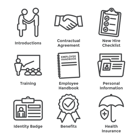 New Employee Hiring Process icon set   with checklist, handshake, training, etc Stok Fotoğraf - 103834962