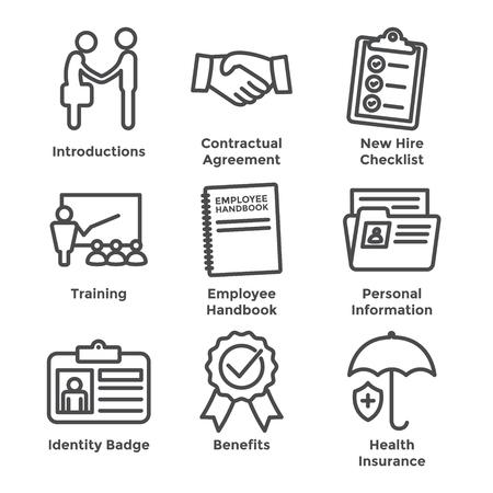 Nuevo conjunto de iconos del proceso de contratación de empleados con lista de verificación, apretón de manos, capacitación, etc. Ilustración de vector