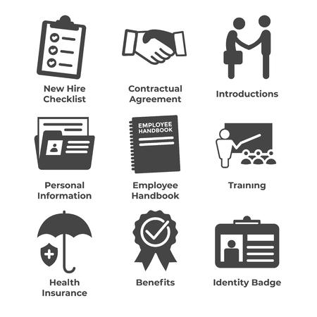 New Employee Hiring Process icon set   with checklist, handshake, training, etc Stok Fotoğraf - 103834963