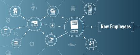 Icône de processus de recrutement de nouveaux employés avec manuel, liste de contrôle, etc.