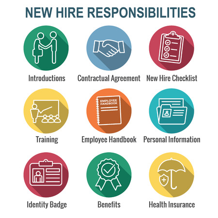 Icône de processus de recrutement de nouveaux employés avec liste de contrôle, poignée de main, formation, etc.