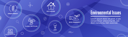 Environmental issues header web banner w recycling, etc icon set Foto de archivo - 113541656