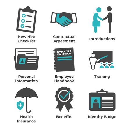 New Employee Hiring Process icon set   with checklist, handshake, training, etc Stok Fotoğraf - 104219168