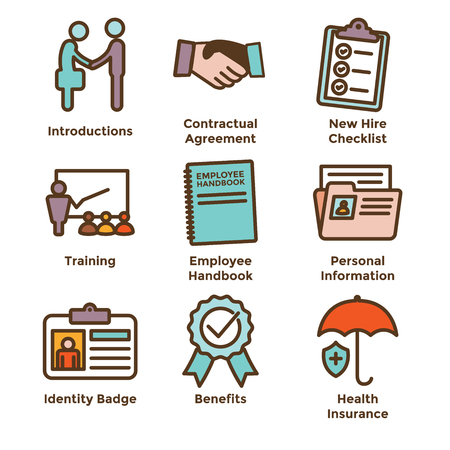 New Employee Hiring Process icon set with checklist, handshake, training, etc