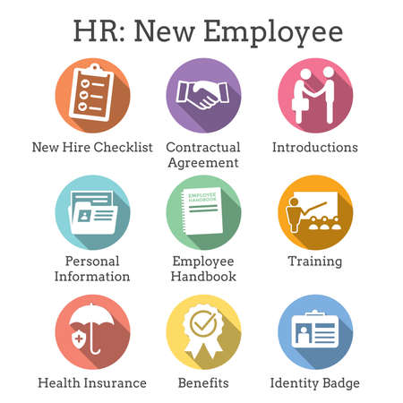 New Employee Hiring Process icon set   with checklist, handshake, training, etc Stok Fotoğraf - 104588605
