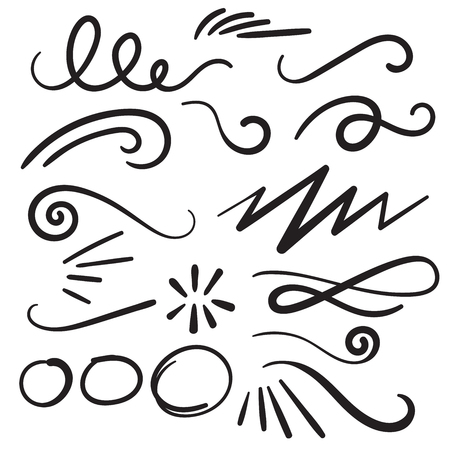 Swoosh Curls Swash Swish with Scribbles and Squiggle Swooshes, Swashes & Swishes Illustration