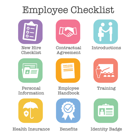 New Employee Hiring Process icon set   with checklist, handshake, training, etc Stok Fotoğraf - 104791346