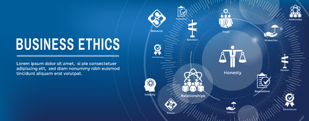 Business Ethics Web Banner Icon Set - Honesty, Integrity, Commitment, and Decision Stok Fotoğraf - 113541673