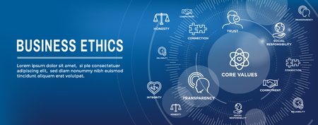 Business Ethics Web Banner Icon Set - Honesty, Integrity, Commitment, and Decision Stock Illustratie