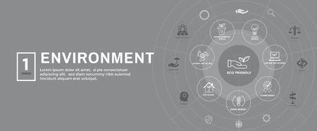 Environmental issues header web banner w recycling, etc icon set Foto de archivo - 105234478