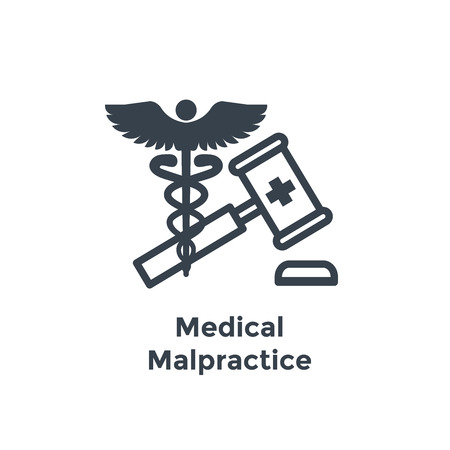 Medical Lawsuit icon with legal imagery showing medical malpractice - outline style Фото со стока - 105260760