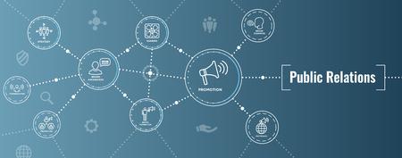 Banner e set di icone per intestazione web di pubbliche relazioni con consapevolezza del marchio, strategia e promozione