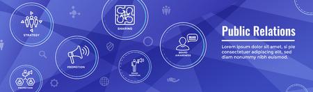 Public Relations Web Header Banner und Icon Set mit Markenbekanntheit, Strategie und Werbung Vektorgrafik