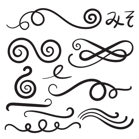 Swoosh Curls Swash Swish with Scribbles and Squiggle Swooshes, Swashes & Swishes Ilustração
