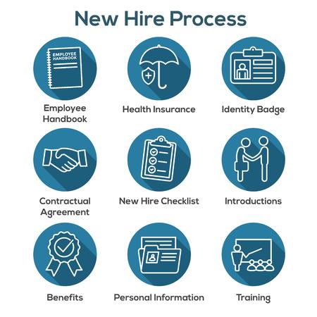 Nuevo conjunto de iconos del proceso de contratación de empleados con lista de verificación, apretón de manos, capacitación, etc.