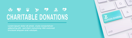 Charity and relief work - Charitable Giving Web banner - icon set Illustration