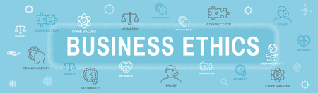 Business Ethics Web Banner Icon Set - Honesty, Integrity, Commitment, and Decision 向量圖像