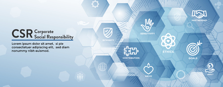 CSR-Social Responsibility Web Banner Icon Set & Web Header Banner w Honesty, integrity, collaboration, etc