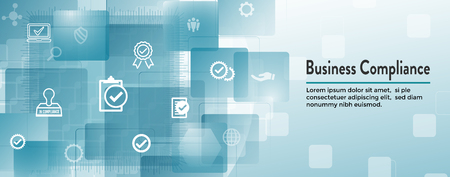 In compliance web banner w icon set  - shows a company passed inspection Stock Illustratie