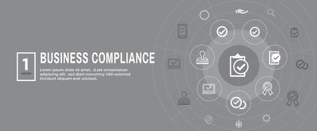 In compliance web banner w icon set  - shows a company passed inspection Vectores