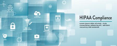 Encabezado de banner web de cumplimiento de HIPAA: texto y conjunto de iconos médicos