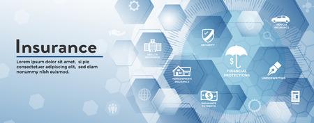 Insurance Web Header Banner, das Hausbesitzer-, Kranken-, Lebens- und Kfz-Versicherungen abdeckt