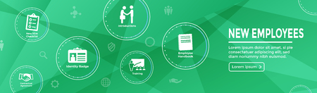 New Employee Hiring Process icon set  with handbook, checklist, etc