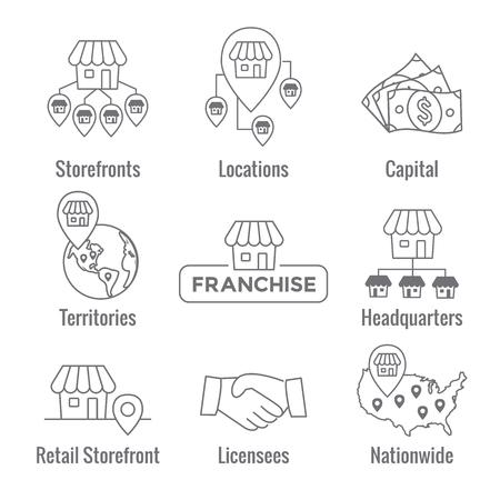 Franchise-Icon-Set mit Home Office, Unternehmenszentrale - Franchisenehmer-Icon-Bilder