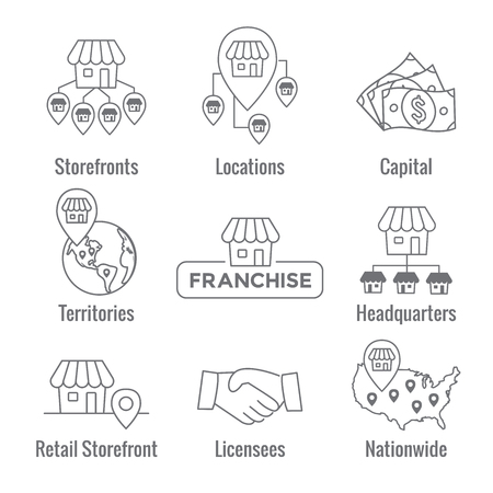 Franchise Icon Set with Home Office, corporate Headquarters - Franchisee Icon Images Vectores