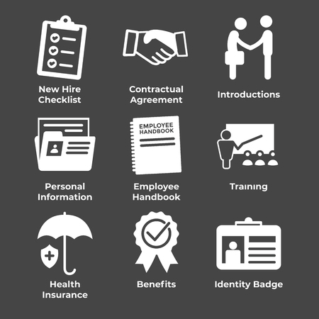 New Employee Hiring Process icon set   with checklist, handshake, training, etc Stok Fotoğraf - 105929716