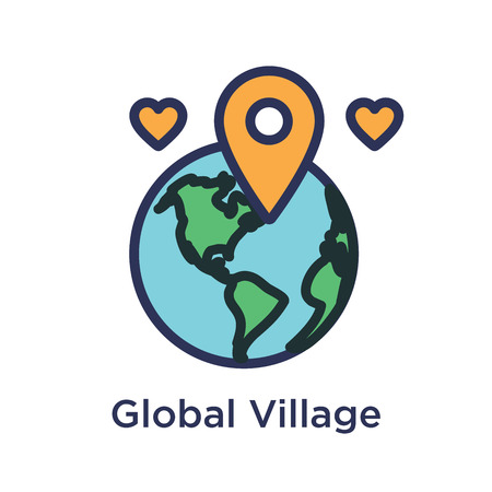 Team Building, Teamwork, and Connectivity Icon Set - Global Village Connection