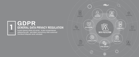 GDPR and Privacy Policy Web Banner Header & Background 일러스트