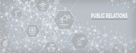 Public Relations Web Header Banner and Icon Set w brand awareness, strategy, and promotion