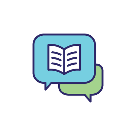Storytelling Icon with Photo, Speech Bubbles, and person telling a brand - advertising story Иллюстрация