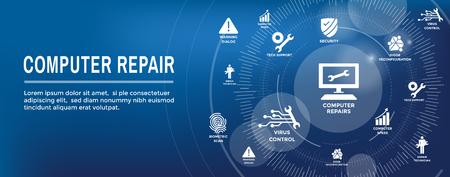 Wartungssymbol für Big Data-Sicherheit mit Schraubenschlüssel- und Getriebetools für Techniker beim Scannen von Systemen - Reparaturen im Internet oder in der Informationstechnologie