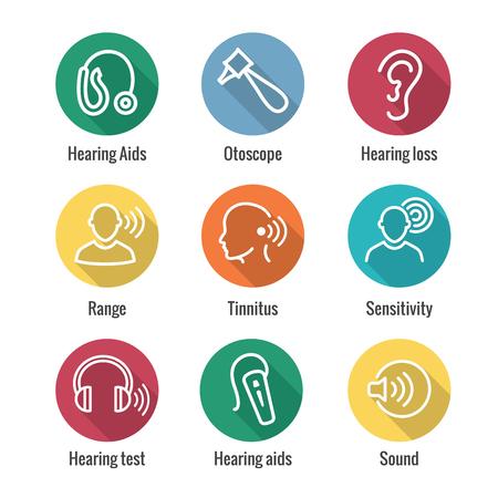 Apparecchi acustici o perdite w Set di icone dell'immagine dell'onda sonora Vettoriali
