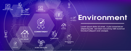 Environmental issues header web banner w recycling, etc icon set Foto de archivo - 112015026