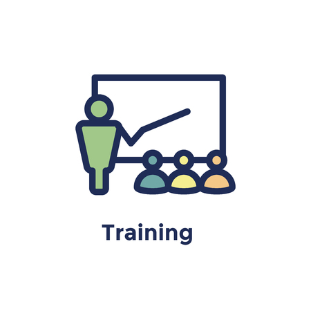 New Employee Hiring Process icon w person training new recruits