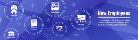 New Employee Hiring Process icon set  with handbook, checklist, etc