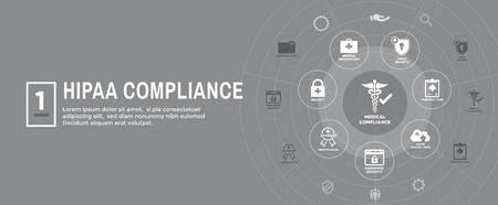 HIPAA Compliance Web Banner Header - Medical Icon Set and text
