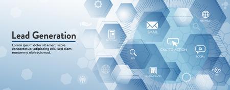 Banner de encabezado web de generación de clientes potenciales que atrae clientes potenciales: público objetivo para aumentar el crecimiento de los ingresos y las ventas