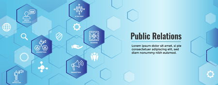 Conjunto de iconos y banner de encabezado web de relaciones públicas con conjunto de iconos de promoción, estrategia y conciencia de marca Ilustración de vector
