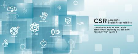 Ensemble d'icônes de bannière Web RSE-responsabilité sociale Banque d'images - 106799755