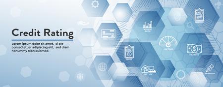 Credit Rating Header Web Banner w Debt, Credit Card, and Credit Score Icon Set Vetores