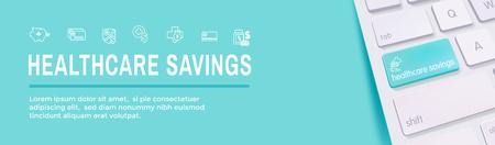Medical Tax Savings Web Header Banner with Health savings account or flexible spending account - HSA, FSA, tax-sheltered savings