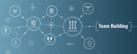 Equipo de construcción, trabajo en equipo y conjunto de iconos de conectividad con figuras de palo e intersecciones Banner de encabezado web